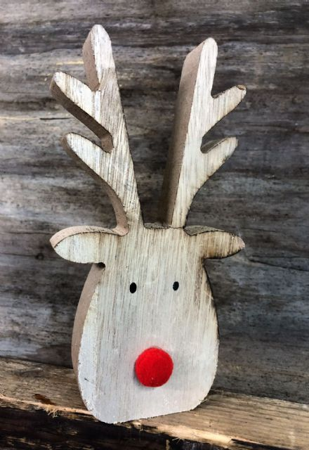 Chunky Wooden Reindeer Head Ornament with Fluffy Red Nose
